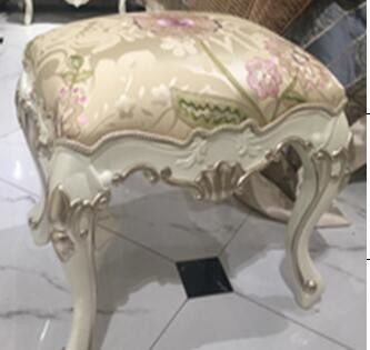 French Classical Style White Dressing Stool Hand - Made Curve 550X440X470 Mm Measure