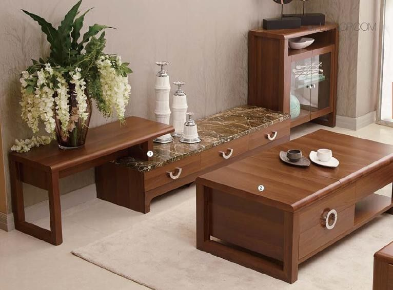 Classic Living Room Furniture Sets / Wall Unit Coffee Table Walnut Color