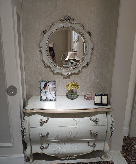 Modern Classic French Furniture Dressing Table Mirror Full Solid Wood Frame Carving Roses