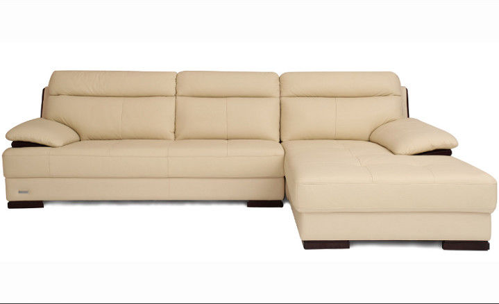 Beige Leather Sectional Sleeper Sofa For Small House / Home Furniture Living Room